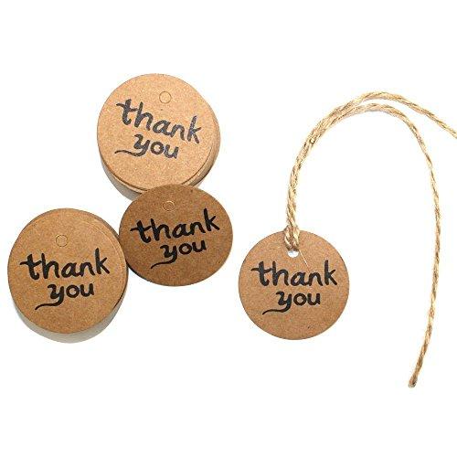 Uctop store 100 etichette in carta kraft marrone con scritta thank you, per bomboniere matrimoniali