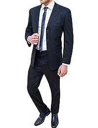 e7fbad9c4266 Abito completo uomo sartoriale in lino blu scuro vestito elegante cerimonia