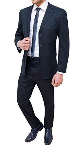 Abito completo uomo sartoriale in lino blu scuro vestito elegante cerimonia (50)