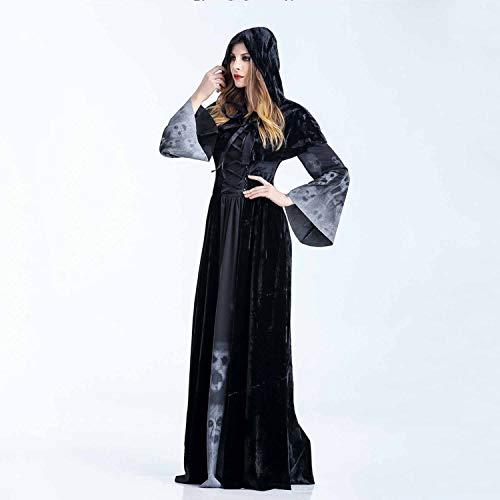 DuHLi Frauen Schädel gedruckt Hexe Plus-Size-Kleid Halloween Cosplay Party Overall Kostüm,XL