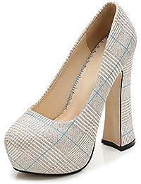 ef9846c2744c Phorecys Women s Point Toe Chunky High Heel Checked Platform Slip On Pumps  Party Size 3.5-