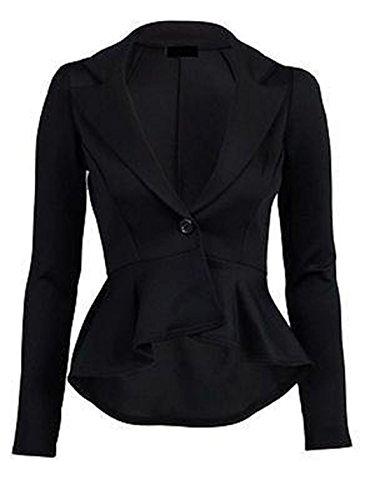 MyMixTrendz Women Ladies Peplum Frill One Button Blazer Top Plus Size