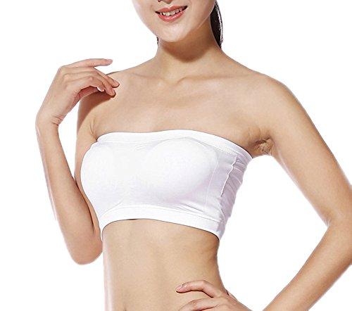 1291cd472094 Qingsun Frauen Elastische Tube BH Nahtlose Bandeau BH Boob Tops Weste  trägerlos mit Polsterung, L
