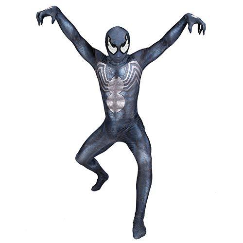 QQWE Venom Spiderman Cosplay Kostüm Kinder Erwachsene Kostüm Kleidung Weihnachten Halloween Rollenspiel Body Spandex Overalls,A-S