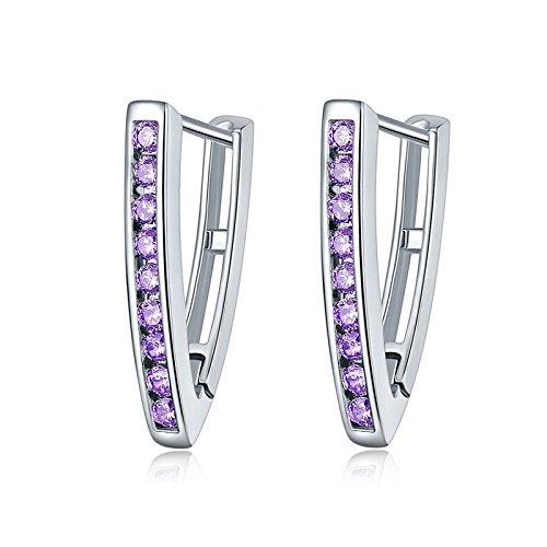 Europäische und amerikanische Mode Ohrringe, Kristall Zirkon Ohrringe V-förmige Dreieck Ohrringe, hypoallergene Schmuck lila