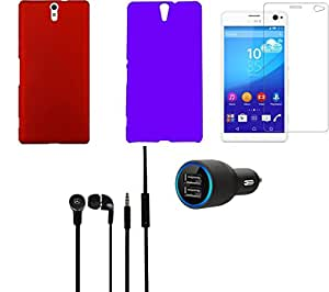 NIROSHA Tempered Glass Screen Guard Cover Case Car Charger Headphone for Sony Experia C5 - Combo