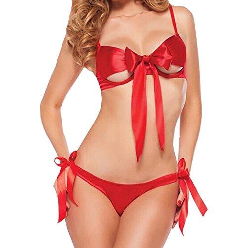 Dessous Damen,Dasongff Mode Frauen Bowknot Dessous Nette Uniformen Versuchung Nachtwäsche Reizwäsche Unterwäsche Lingerie Rot (L, Rot) (Bh Bowknot)