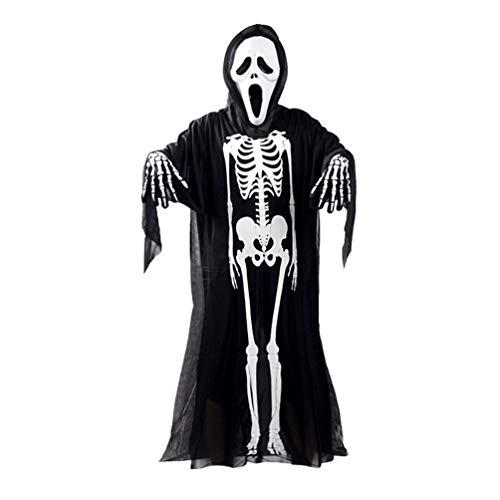 8Eninide Skull Skeleton Ghost Cosplay Costume Halloween Fancy Dress+Devil Mask+Gloves Black & White Adult