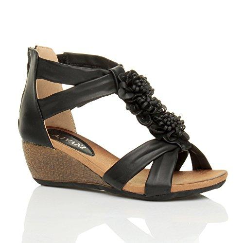 Femmes mi talon compensées bout ouvert t-bar fleur lanières sandale pointure Noir mat