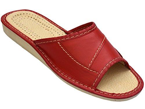 Bawal Hausschuhe Leder Damen Pantolette Gummisohle Latschen Leder Modell XA20 (38, Red)