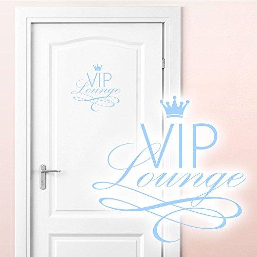Grandora W5373 Adesivo murale WC Adesivo per Porta VIP Lounge - Blu Pastello, (BxH) 19x18 cm