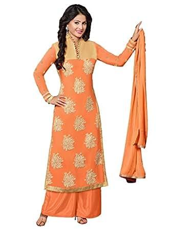 Orange Georgette Party & Wedding Wear Heavy Zari Embroidery Plazo Suit 55013
