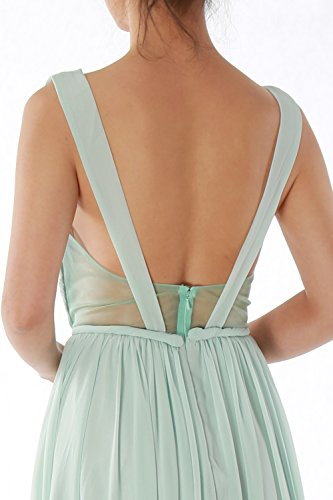 MACloth Women Straps V Neck Chiffon Long Prom Homecoming Dress Formal Party Gown Himmelblau
