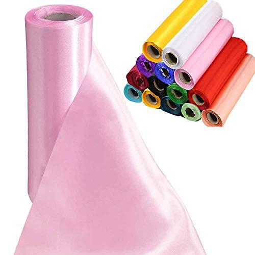 Tts 29cmx20m (pink) rotolo di raso tessuto satinato runner da tavolo elegante coprisedia fiocchi matrimonio poltrona fiocchi bomboniere