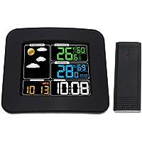 Vosarea Kabellose Wetteruhr mit Luftfeuchtigkeitsmesser Innen- und Außentemperatur Kalender Schlummerwecker