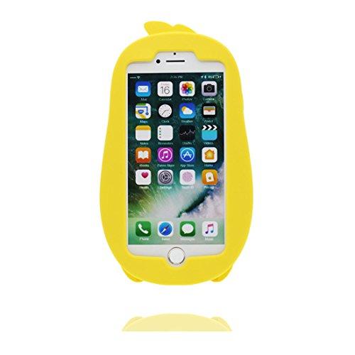 """iPhone 7 Plus Coque, Étui Cover Housse pour iPhone 7 Plus Cartoon 3D Oreilles de porc Rose en Gel TPU Shell iPhone 7 Plus Case (5.5"""") Résistant à la poussière Scratch et stylet rose jaune"""