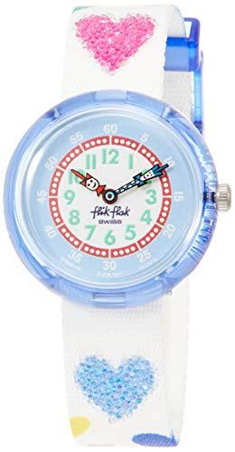 FlikFlak Mädchen Analog Quarz Uhr mit Stoff Armband FBNP116 (Swatch-uhr Herz)