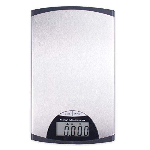 Roomando Digitale Küchenwaage aus Metall 14 x 23,6 cm in Schwarz Silber Modell Slim Line