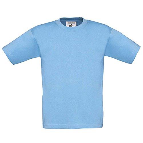 B&C Kinder-Shirt ohne Werbeanbringung, Rundhals, gerade geschnitten, Baumwolle Hellblau