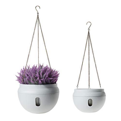 ComSaf Selbstbewässerung Plastik Blumenampeln Rund, Hängepflanztöpfe mit Wasserspeicher für Innen- und Außenbereiche, Weiß 2er-Set