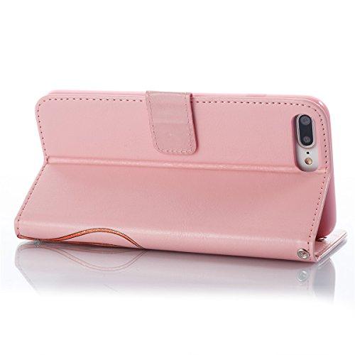 Coque iPhone 8 Plus, Étui en cuir iPhone 7 Plus, Lifetrut [Papillons en relief] Design Flip Folio Cuir Housse de Portefeuille pour iPhone 7 Plus [Rouge] E206-Pink