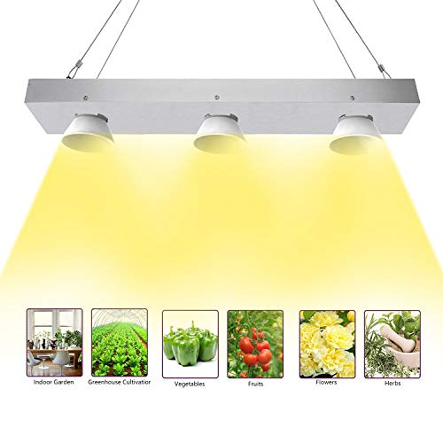 Niello COB LED Grow Light, 600w Sunlike Lamp Vollspektrum LED Pflanzenlampe with Reflective Cup, High PAR & High Lumen Growing Lamp, No Noisy Plant Light for Hydroponics Greenhouse Veg and Flower