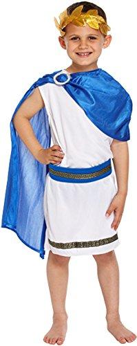 Kinder, die Caesar Römische Kaiser Jungen Kostüm Blau Weiß Fancy Kleid Outfit, (Kostüm Kaiser Kind)