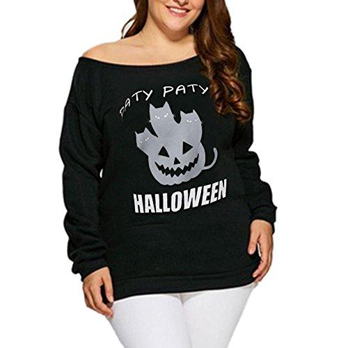 VEMOW Heißer Damen Frauen Halloween Teufel Print Langarm Casual Täglichen Party Tops Bluse Shirt Pullover(Schwarz, EU-42/CN-L)