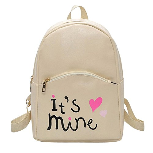 Bizarre Vogue Cute Medium It's Mine Printed Style Backpack College bag for Girls (Cream,BV1210) Image 1