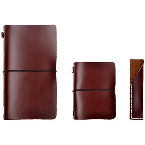 Hecho a mano piel recargables viajeros diarios estuche Set de tres ¡, color marrón