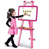 Quickdraw 3 In 1 Childrens Pink Double Sided Learning Chalkboard Easel With Magnetic Letters & Numbers