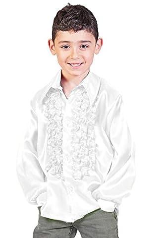 Satin Rüschenhemd Johnny für Kinder - Weiß Gr. 128 (70er Jahre Disco-kostüme Für Kinder)