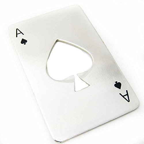 Hangaga 1pcs Stainless Steel Playing Card Ace Beer Opener Men's Gift Spades Poker Bar ()