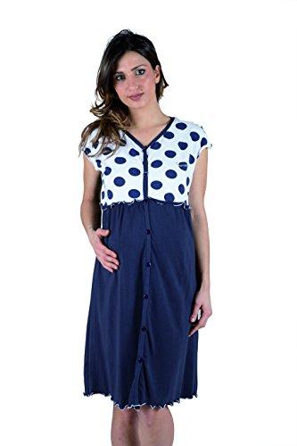 Premamy - camicia clinica per premaman, modello aperto davanti, cotone bielastico, pre-post parto - blu - iv (m)