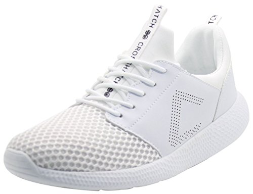 CrossHatch Neu Herren Turnschuhe Leichte Laufschuhe Sneakers Atmungsaktives Mesh Schuhe Weiß