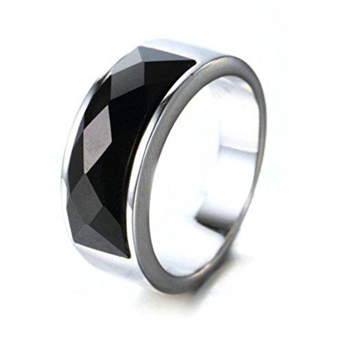Aooaz Schmuck Herren Ring,Retro Klassische Edelstahl Ehering Verlobungsringe Silber (Smaragd Erwachsene Schuhe)