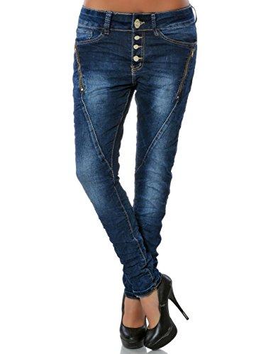 Damen Boyfriend Jeans Hose Knopfleiste No 15809, Farbe:Blau, Größe:XS / 34