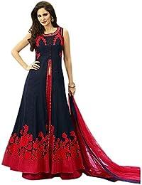 Drashti villa Women's Embroidered Semi Stitched Anarkali Gown (Free Size) (Blue)