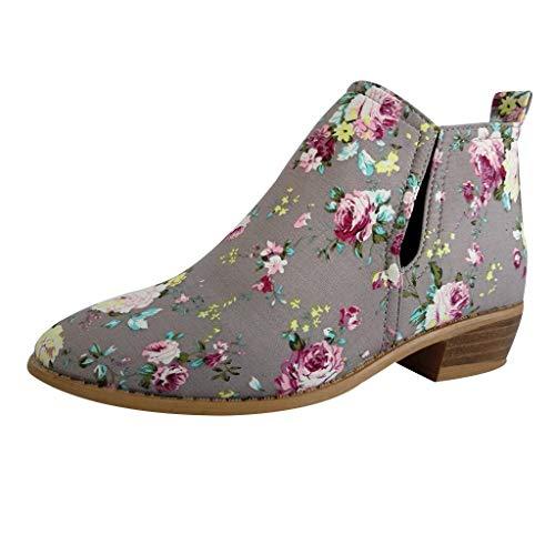 SEHRGUTGE Damen Ankle Boots mit Blumenmuster, Lässige Slip On Short Booties, Chelsea-Stiefel mit Blockabsatz