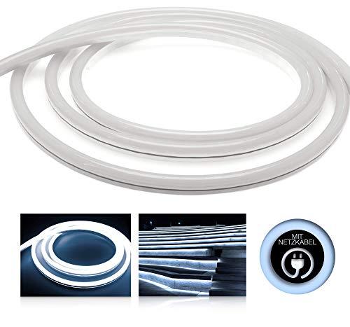LEDU NeonFlex Pro230 kaltweiß (Länge: 1m, 230V LED-Streifen, Neon-Flex LED-Stripe ohne Lichtpunkte, durchgängig Leuchtend, 9W/m, EEK: A, Anschluss: Eurostecker) -