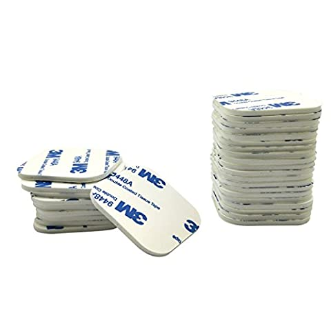WOSKY 30 Pcs Double Sided White Foam Tape Strong Pad Mounting Adhesive (Square, White)