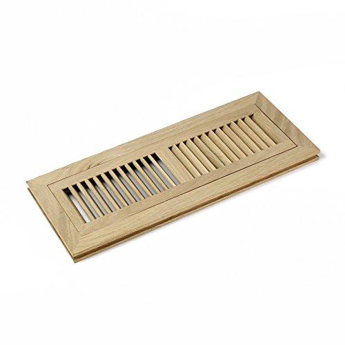 Stock Register (Welland weiß Eiche Typ Hartholz mit Belüftungsschlitzen Vent Abdeckung Stock Register mit Rahmen Flush Mount unfertig, mehrere Größen 4x14 Inch Natural Wood Color)