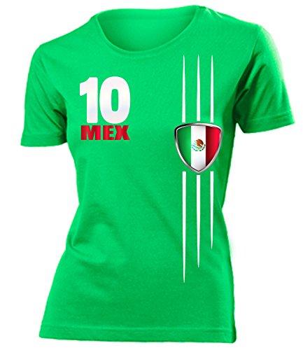 Mexiko-fußball-weltmeisterschaft (MEXIKO FANSHIRT 3340 Damen T-Shirt (F-Kellygrün) Gr. L)