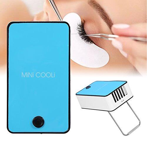 Mini ventola di estensione ciglia, essiccatore portatile per ventosa con innesto per colla di estensione a secco con condizionatore d'aria USB (blu)