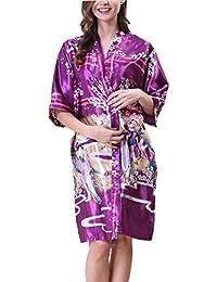 Camisones Mujer Moda Albornoz con Cinturón Mangas 3/4 V-Cuello Batas Estampadas Camison
