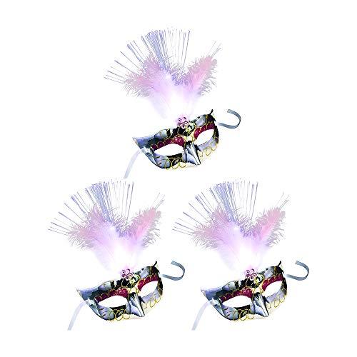Halloween Kostüm Paare Awesome - Dayyly 3 Mini-Kostümmasken für Frauen und Mädchen, venezianische Prinzessinnen-Feder-Maske mit LED-Licht, Mehrfarbig, kleine Karnevalsmaske für Cosplay, Halloween, Bachelorette, Party-Geschenke weiß