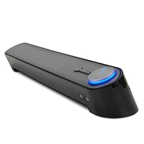 GOgroove Soundbar Computer USB Altoparlante Subwoofer Passivo con Design Angolato per una Proiezione Potente del Suono, Jack da 3.5mm per Cuffie + Microfono e Controllo Volume