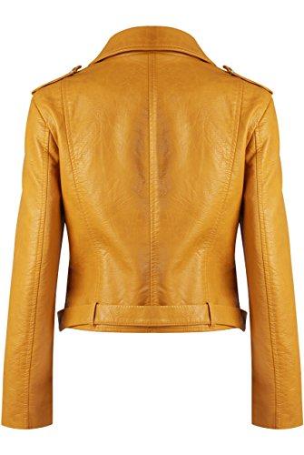 GG neuen Frauen Faux-Leder- Zip Crop Damen Biker-Jacken-Mantel Senf