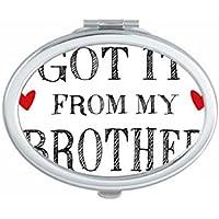 DIYthinker Para mi Familia Que recibió de Mi Hermano Lindo Portable Espejos Regalo Pequeño presenciales Oval