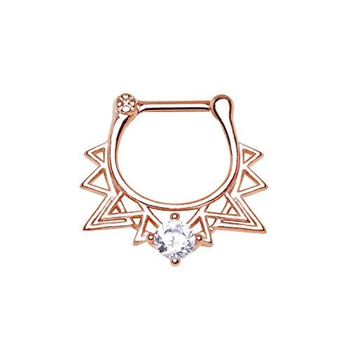 1,2mm x 6mm Rose Gold überzogen gemacht für Lizenz Retro Dreieck Septum Clicker-Nasen-Ring Chirurgenstahl